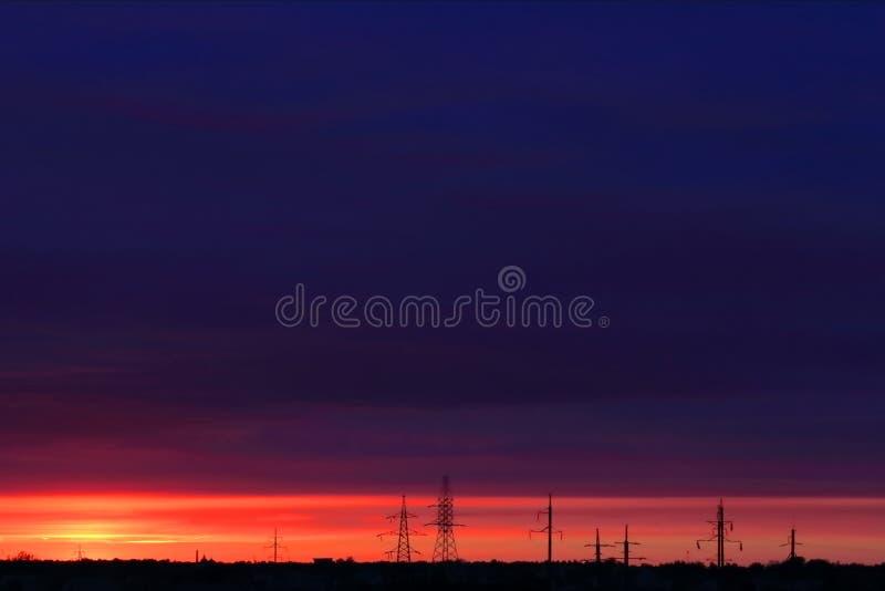 晚日落太阳背景 库存图片