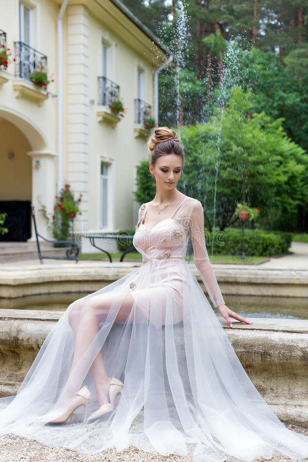 晚礼服的美丽的典雅的女孩与美好的在喷泉附近的晚上欢乐发型 库存图片
