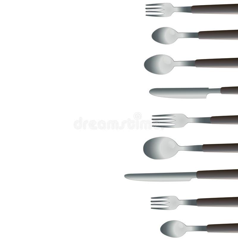晚餐工具和空间艺术传染媒介 库存例证