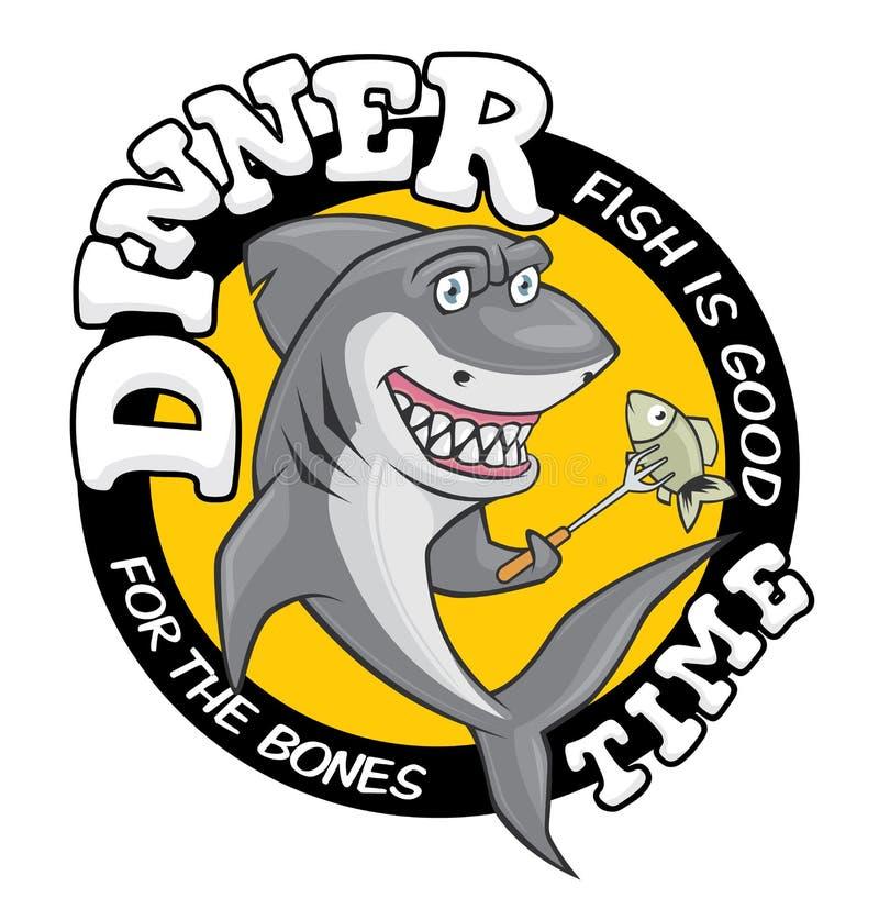 晚餐时间鲨鱼例证 逗人喜爱的微笑的饥饿的鲨鱼,去吃在叉子的鱼 库存例证