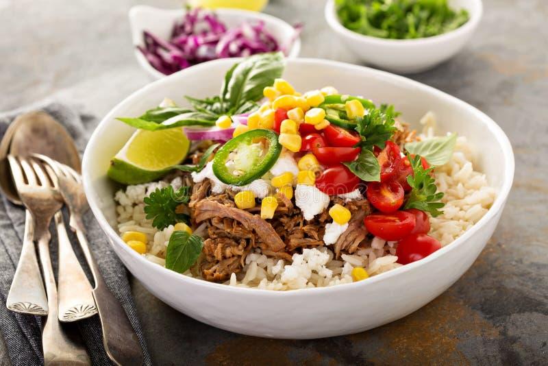 晚餐碗用米和被拉扯的猪肉 免版税图库摄影