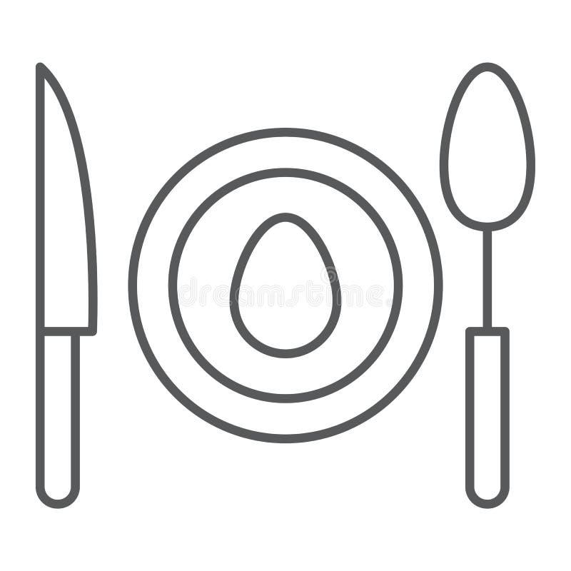 晚餐稀薄的线象,食物和餐具,板材标志,向量图形,在白色背景的一个线性样式 向量例证