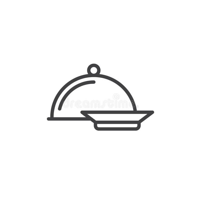 晚餐线象,概述传染媒介标志,在白色隔绝的线性样式图表 向量例证