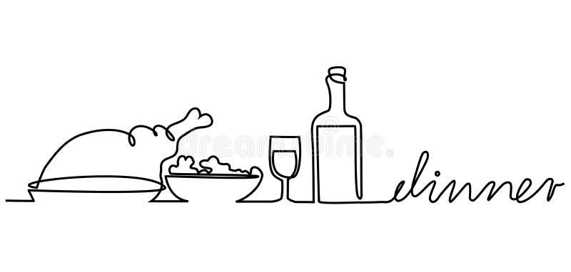 晚餐菜单 皇族释放例证