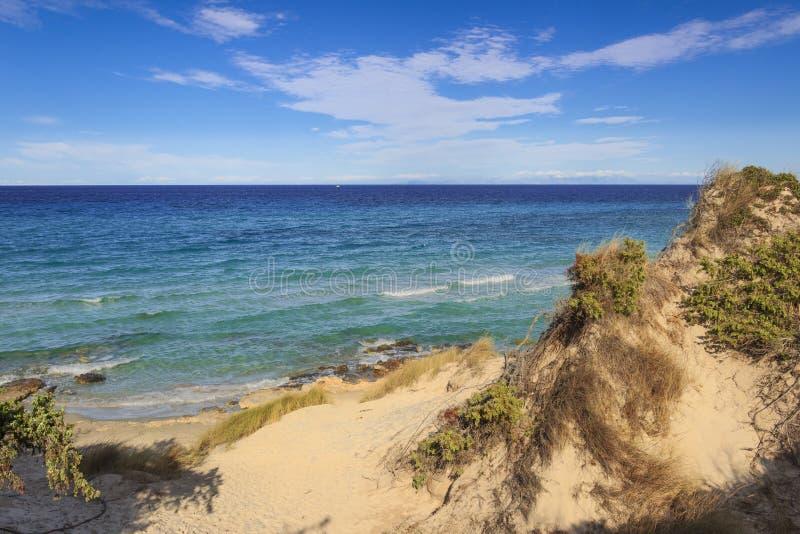 普利亚最美丽的沙滩  Salento海岸:Frassanito海滩意大利 免版税库存照片