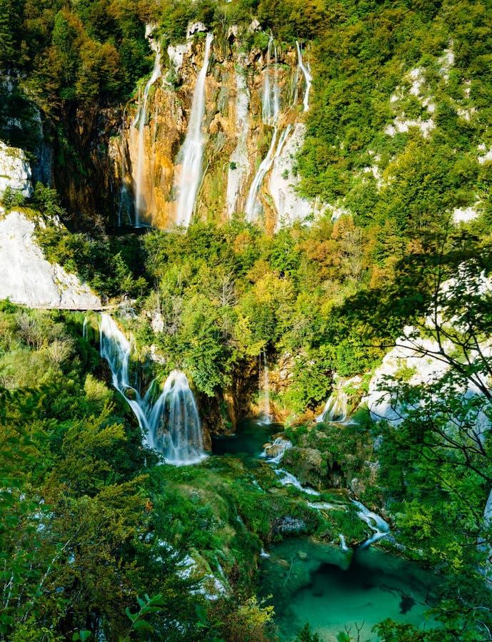 普利特维采湖群国家公园瀑布  库存图片