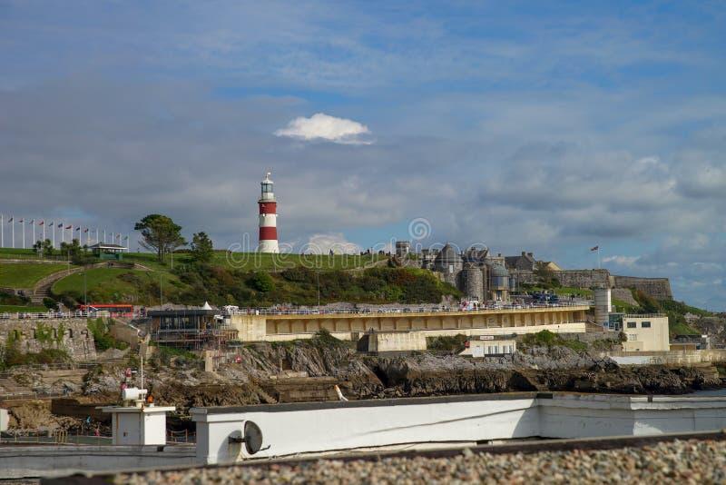 普利茅斯海岸线在英国 库存照片