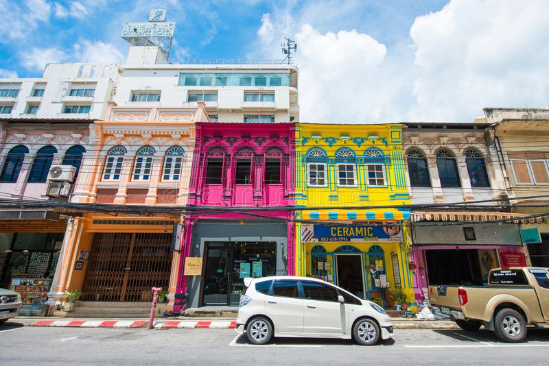 普吉岛,泰国- 2017年10月12日:美好的五颜六色的老buil 免版税图库摄影
