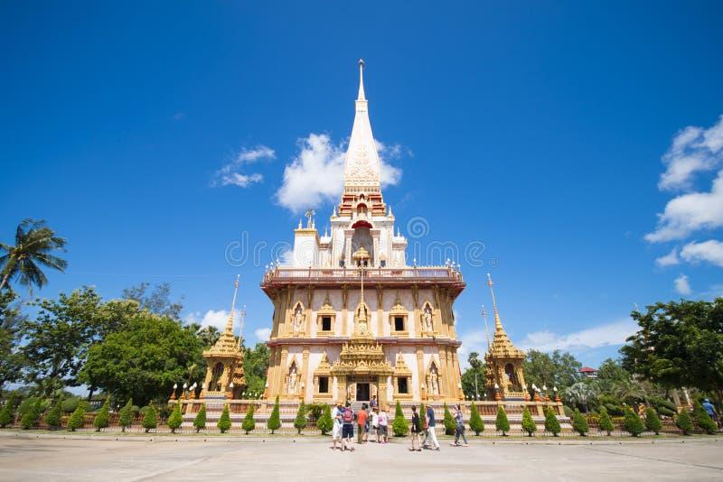 普吉岛, THAILAND-AUGUST 29, 2015年Phra Wat的查龙玛哈Chedi 免版税图库摄影