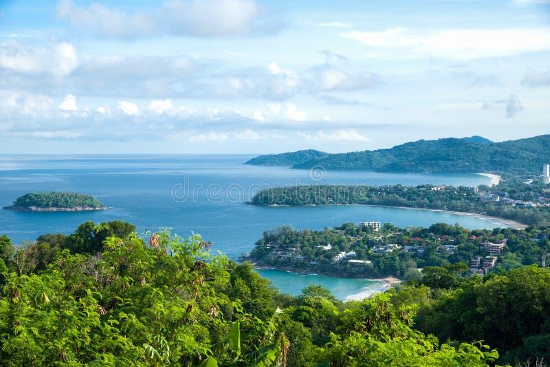 普吉岛-卡塔Noi,卡塔和很远Karon普遍的海滩  库存图片
