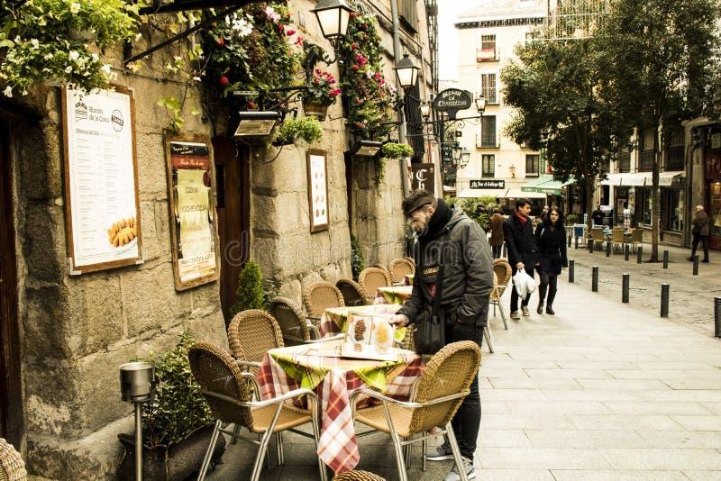 普埃尔塔的del Sol餐馆在马德里,大阳台,看 免版税图库摄影