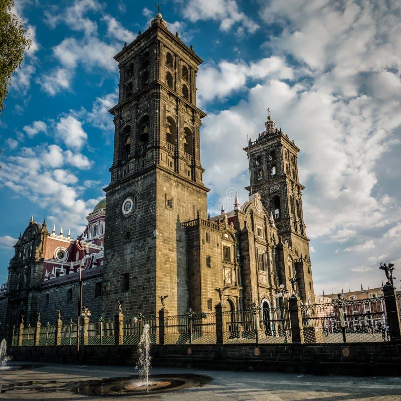 普埃布拉大教堂-普埃布拉,墨西哥 库存照片