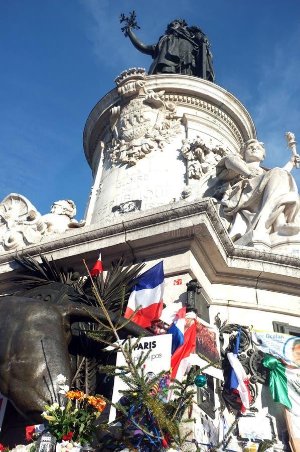 普拉切de la Republique雕象被转动到纪念站点 库存照片