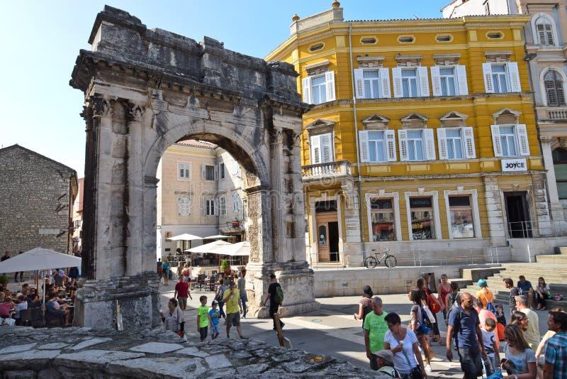 普拉,克罗地亚- 2017年9月1日:Sergii的曲拱; 免版税库存照片