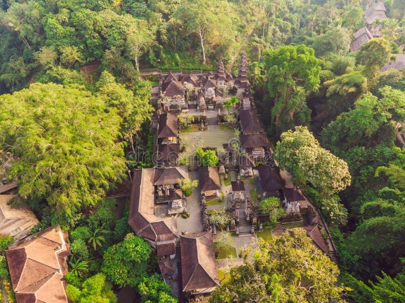 普拉Gunung Lebah寺庙的空中射击在巴厘岛的Ubud 免版税库存图片