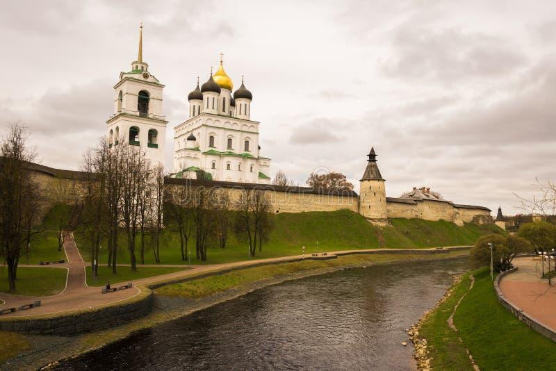 普斯克夫克里姆林宫在俄罗斯 库存图片