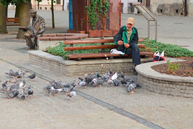 普沃茨克,波兰, 2015年8月4日,人无家可归者社论照片  库存图片