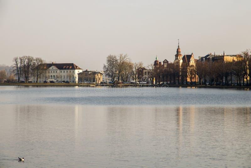 普法芬湖池塘,什未林,德国 免版税库存图片
