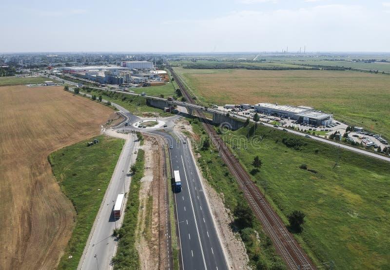 普洛耶什蒂,罗马尼亚,工业西边,鸟瞰图 免版税图库摄影