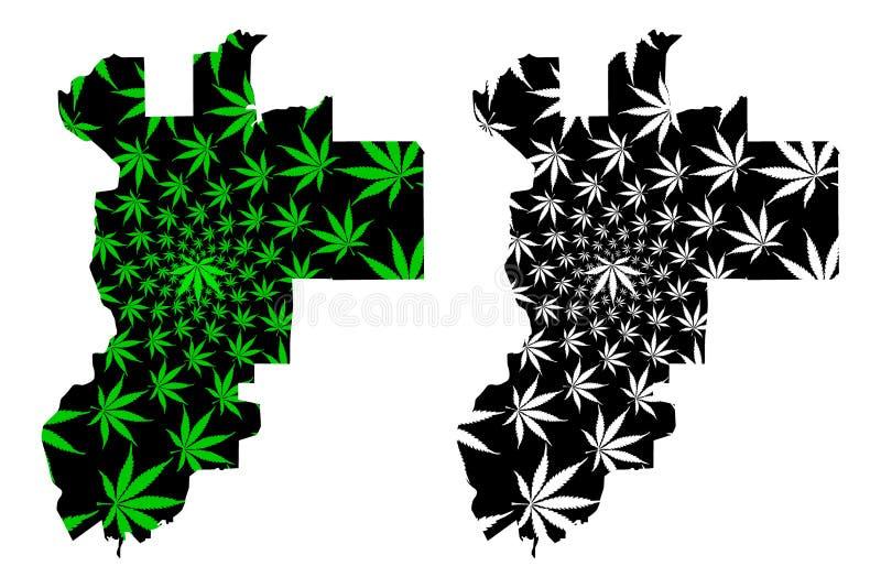 普特拉贾亚状态和马来西亚的联邦疆土,联盟地图是被设计的大麻叶子绿色和黑的,联邦 皇族释放例证