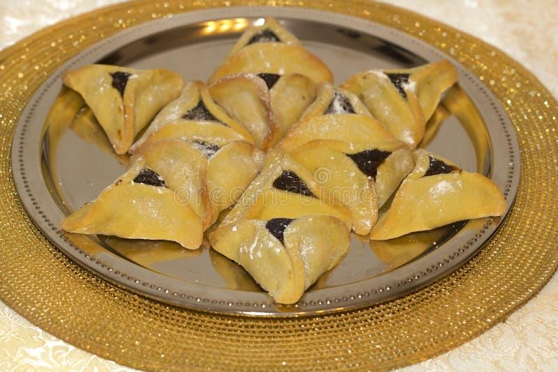 普珥节, hamantaschen曲奇饼 库存图片