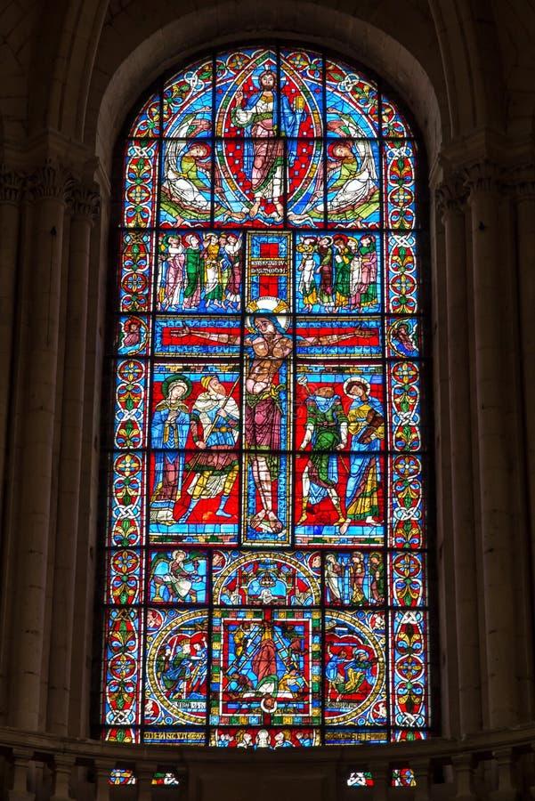 普瓦捷,法国- 2016年9月12日:古老大教堂储 图库摄影