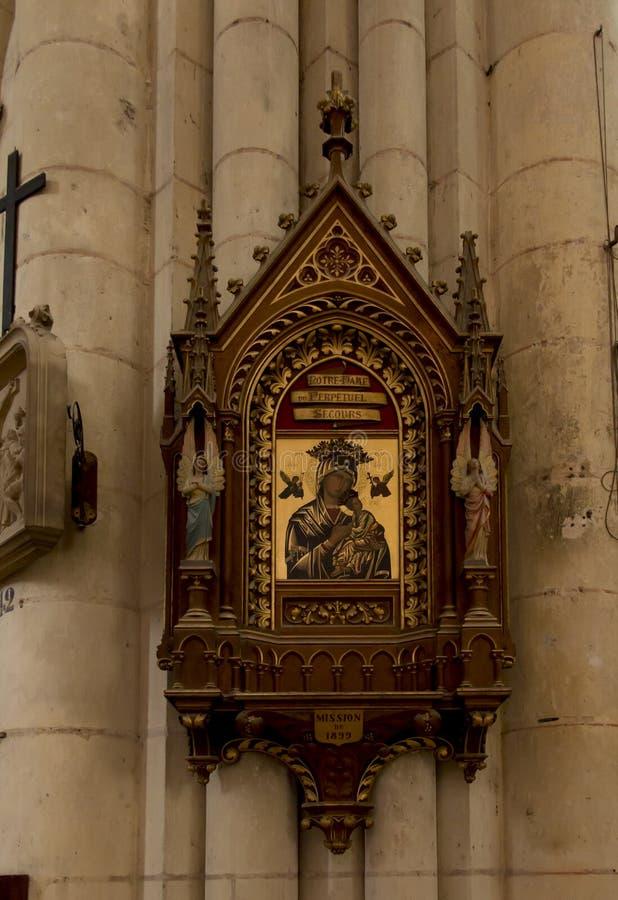 普瓦捷,法国- 2016年9月12日:圣皮特圣徒・彼得教会的内部在普瓦捷,法国, 免版税库存照片