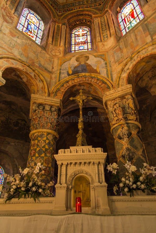 普瓦捷,法国- 2016年9月12日:在St里面教会  免版税库存照片