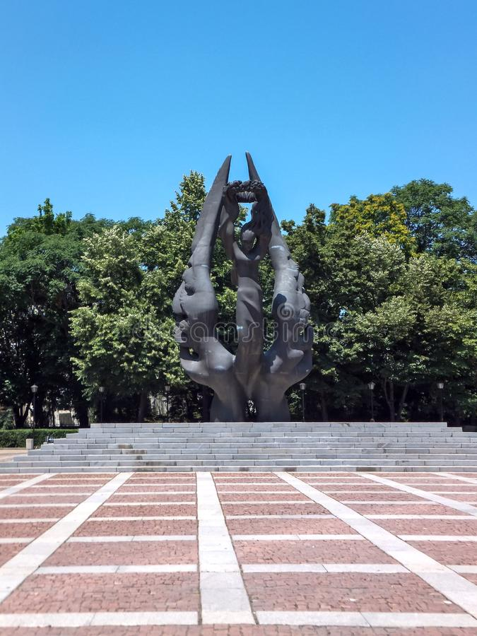 普罗夫迪夫,保加利亚- 2012年6月13日:保加利亚的统一的纪念碑在市普罗夫迪夫, 图库摄影