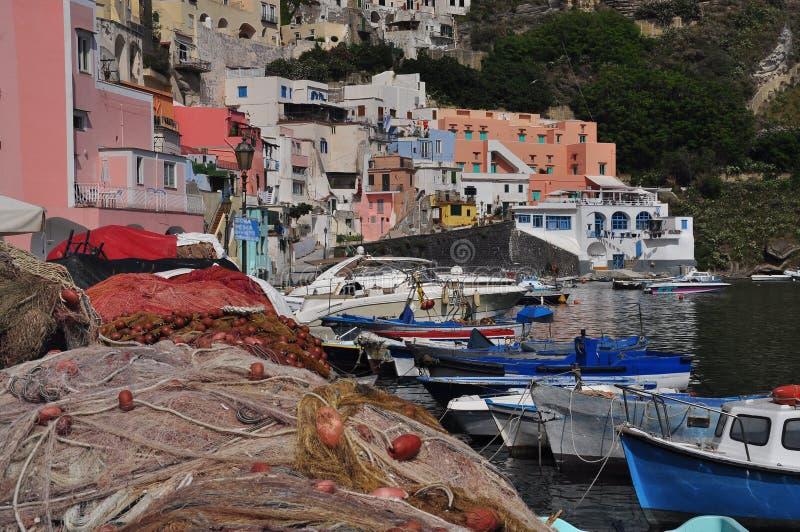 普罗奇达,小游艇船坞Corricella,那不勒斯-拿坡里-意大利 库存照片