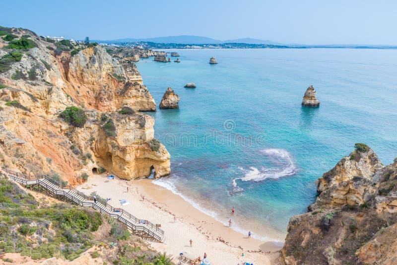普腊亚做卡米洛-天堂海滩阿尔加威,葡萄牙 库存照片