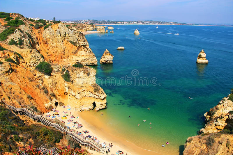 普腊亚做卡米洛,拉各斯,葡萄牙 免版税库存图片