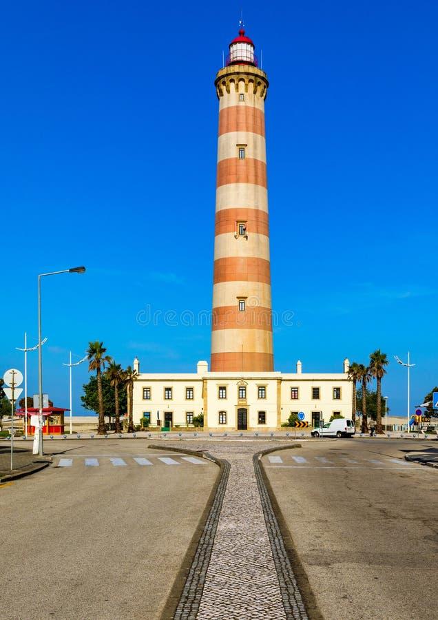 普腊亚有一清楚的天空蔚蓝的da日间巴拉灯塔, 灯塔的看法巴拉海滩(普腊亚da巴拉)  图库摄影