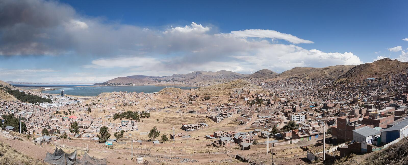 普诺市全景,秘鲁 库存照片