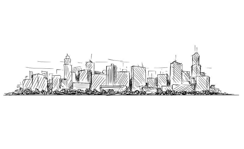 普通与摩天大楼大厦的城市高层都市风景风景传染媒介艺术性的图画剪影  向量例证