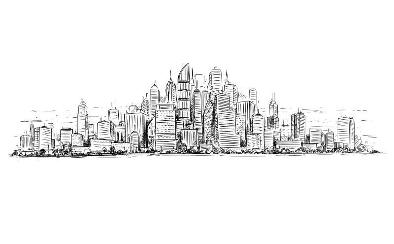 普通与摩天大楼大厦的城市高层都市风景风景的传染媒介艺术性的图画例证 皇族释放例证
