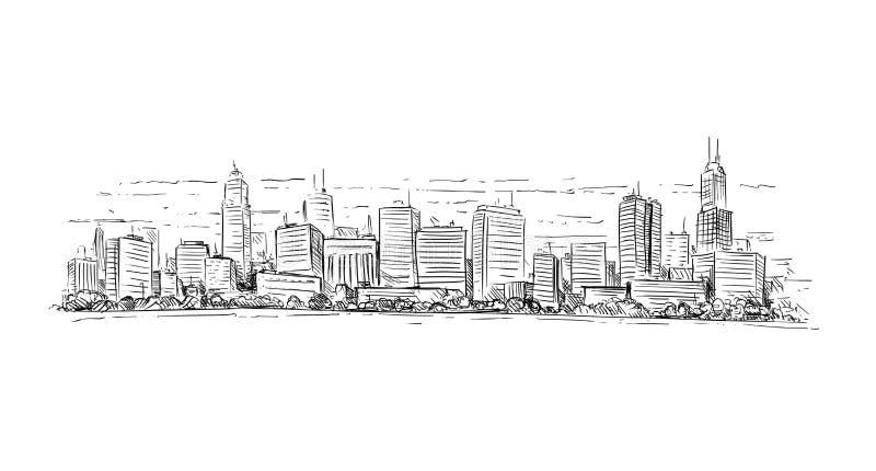 普通与摩天大楼大厦的城市高层都市风景风景的艺术性的画的例证 皇族释放例证