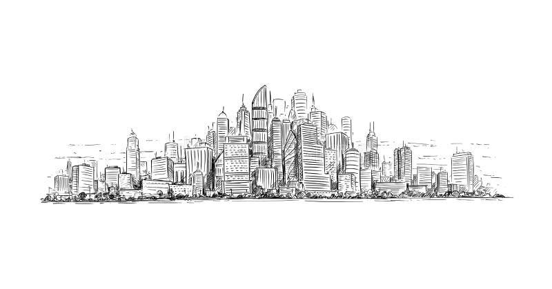 普通与摩天大楼大厦的城市高层都市风景风景的艺术性的画的例证 库存例证