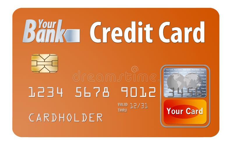 普通信用或在白色隔绝的转账卡 库存例证