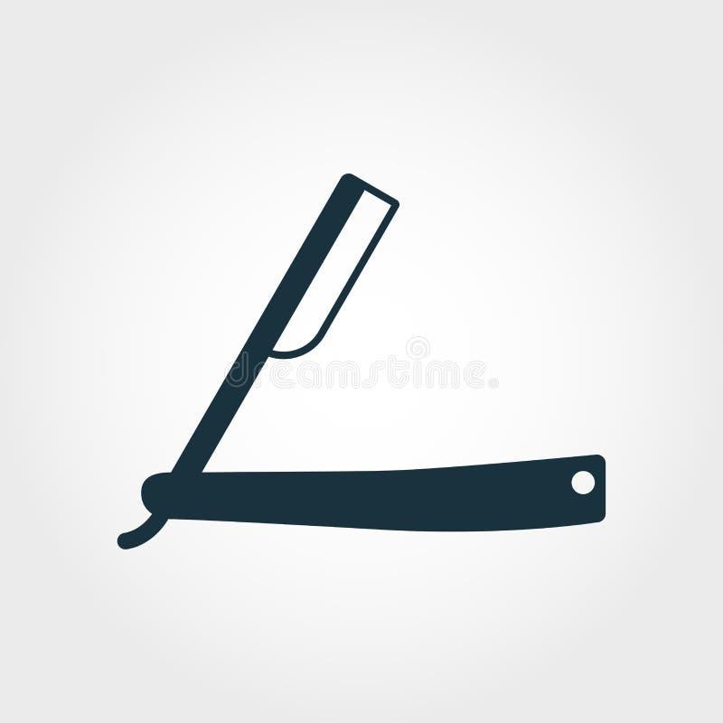 普通刀片传染媒介象标志 从理发店象汇集的创造性的标志 被填装的平的普通刀片象为 皇族释放例证