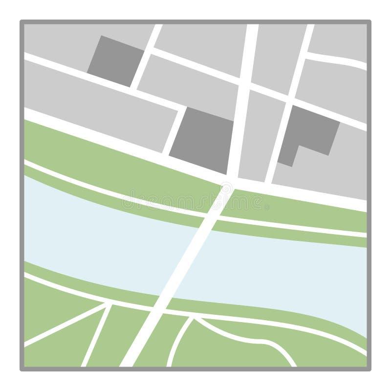 普通在白色隔绝的地图平的象 库存例证