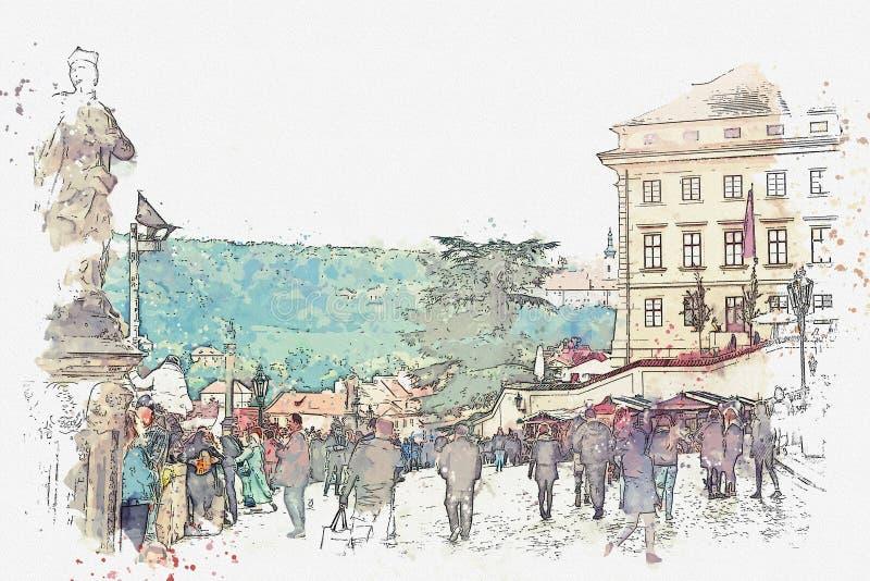普通的城市生活 当地居民和游人是繁忙的与他们的事物 向量例证