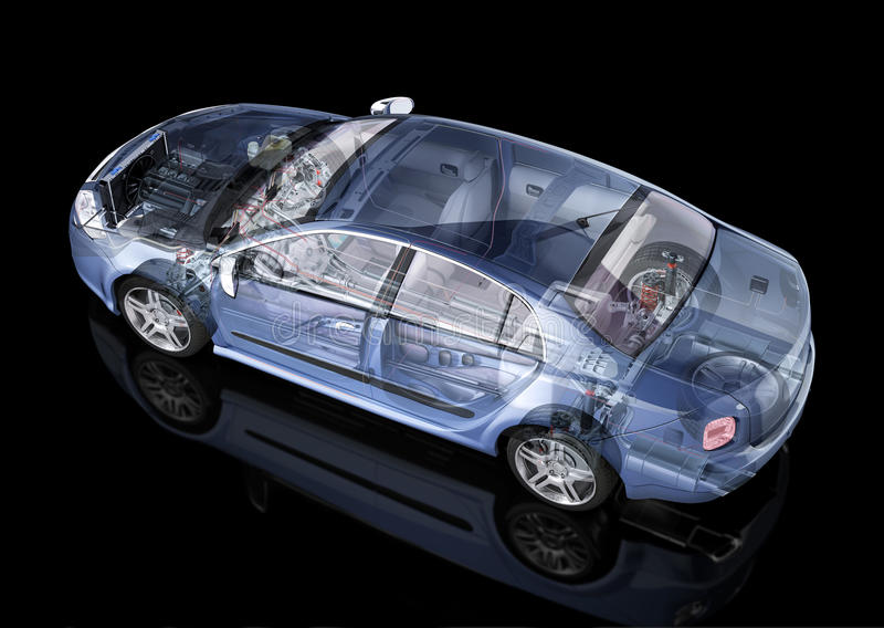 普通轿车汽车详细的切掉的表示法。 向量例证