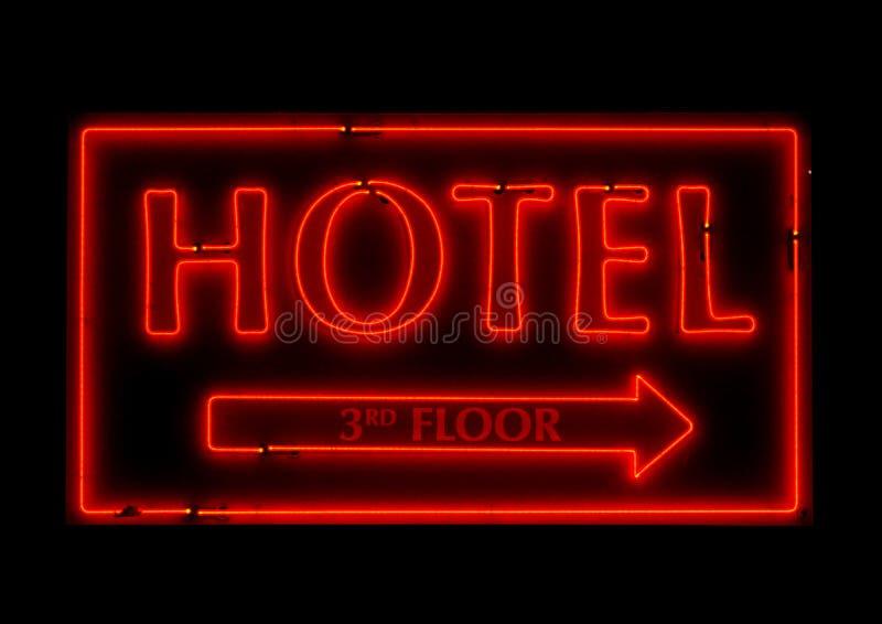 普通霓虹旅馆标志 库存图片