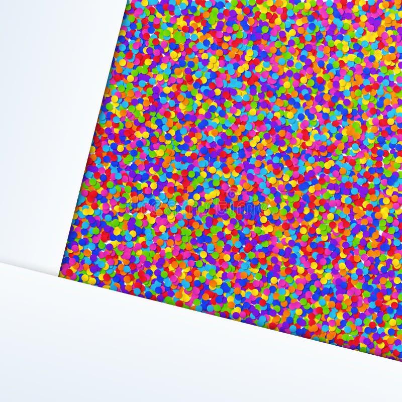 普遍与白色纸片的摘要五颜六色的现实五彩纸屑背景 皇族释放例证