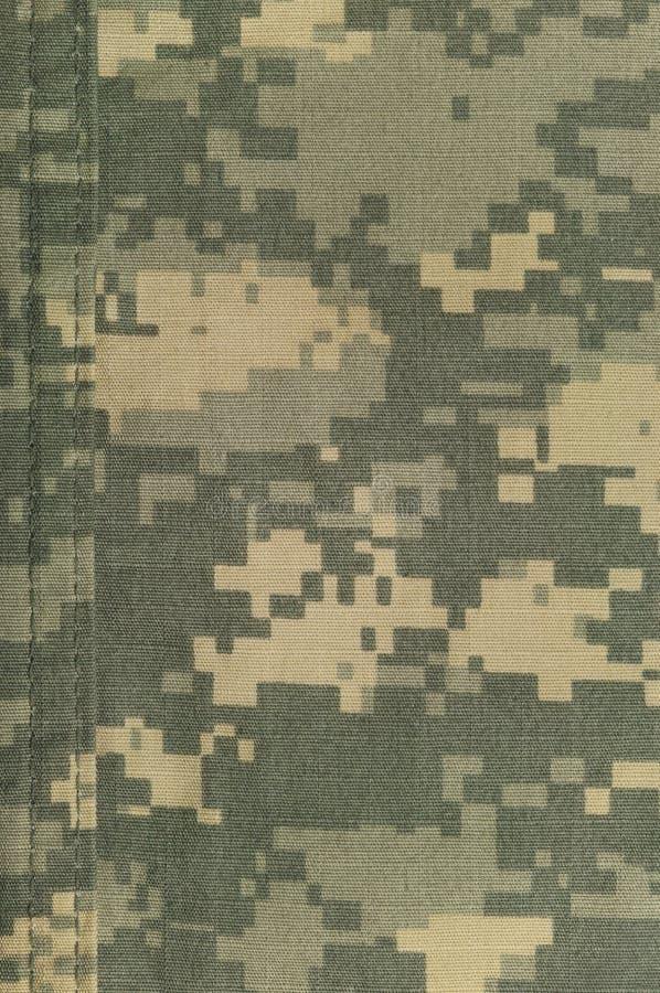 普遍伪装样式,军队作战一致的数字式camo,双重螺纹缝,美国军事ACU宏观特写镜头,详细大 免版税图库摄影