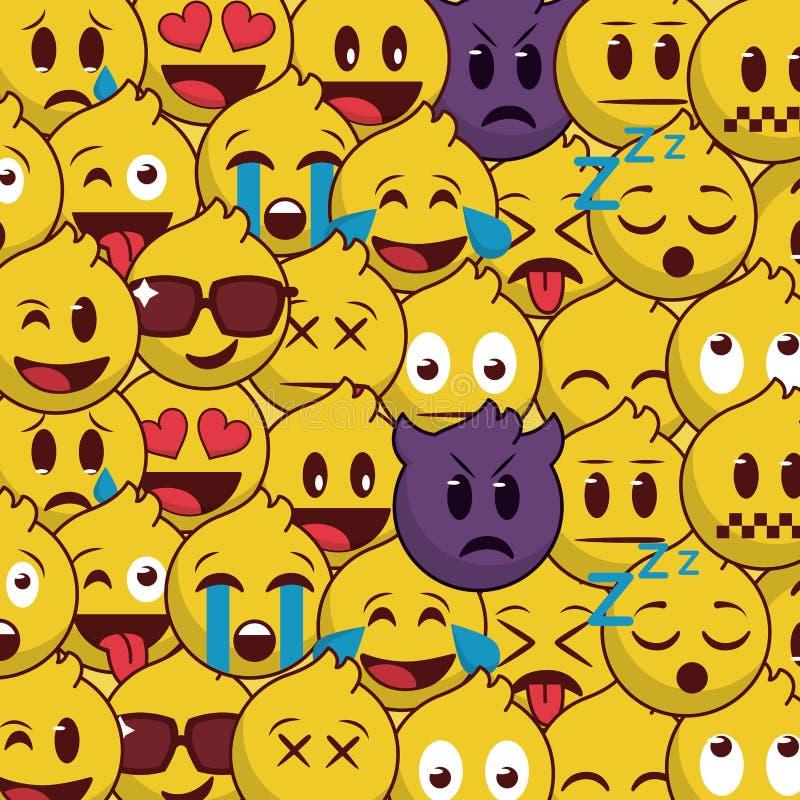 普遍和美好的emoji背景样式 库存例证
