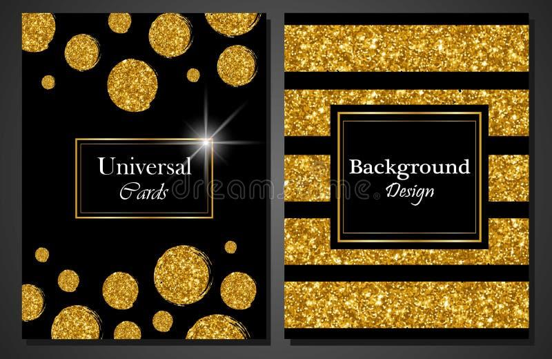 普遍现代时髦的卡片模板的汇集与金黄几何闪烁小点和线的 库存例证