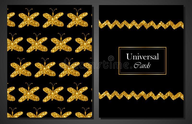 普遍现代时髦的卡片模板的汇集与金黄蝴蝶的 创造性的婚礼,周年,生日,华伦泰 向量例证