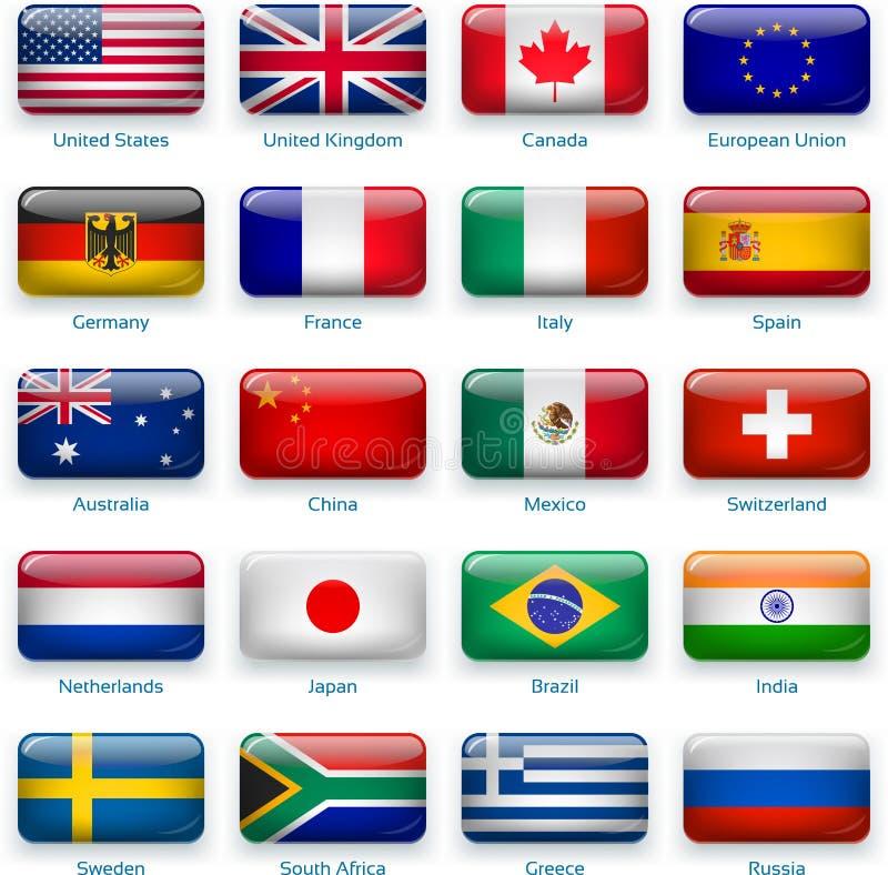 普遍的国家(地区)按钮标志  皇族释放例证